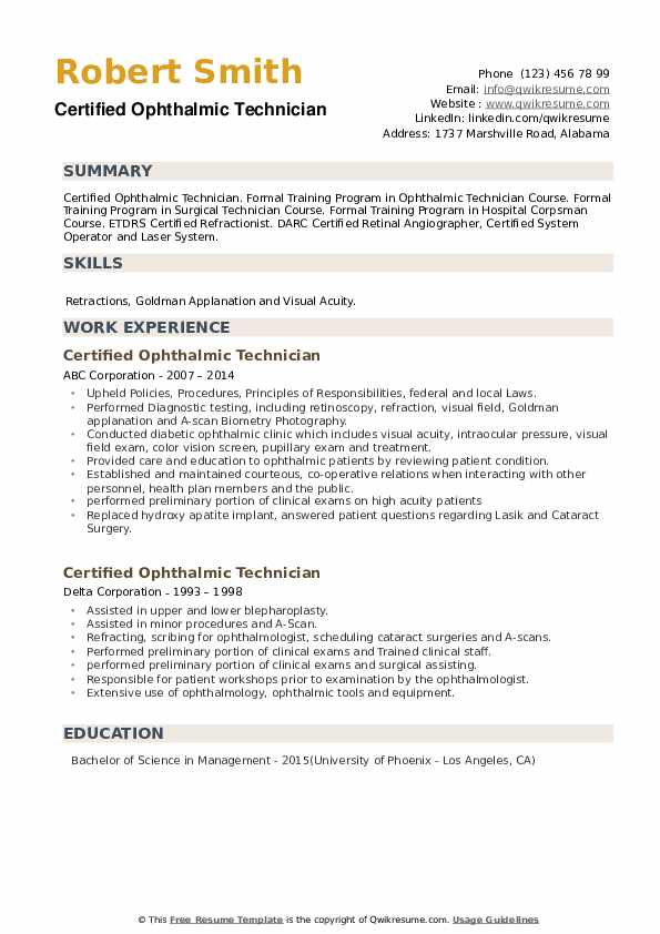 Certified Ophthalmic Technician Resume example