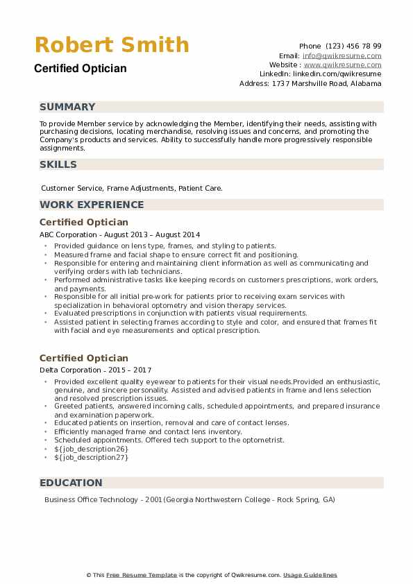 Certified Optician Resume example