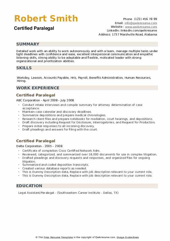 Certified Paralegal Resume example