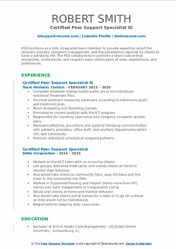 certified peer support specialist resume samples