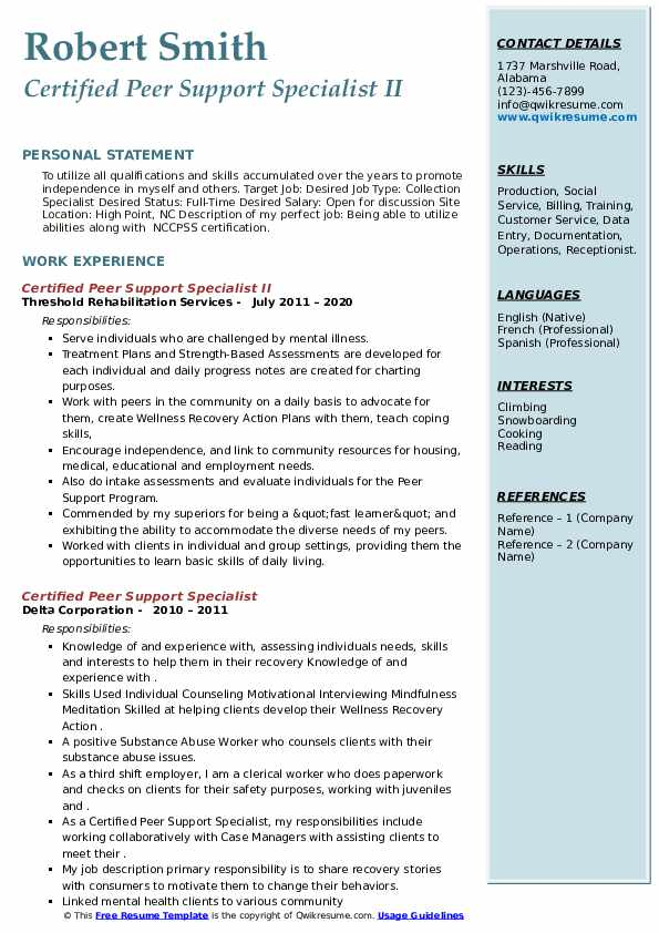 Certified Peer Support Specialist Resume Samples Qwikresume