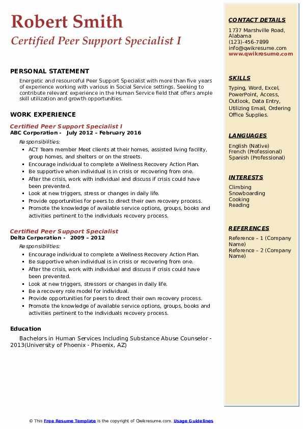 Certified Peer Support Specialist Resume example