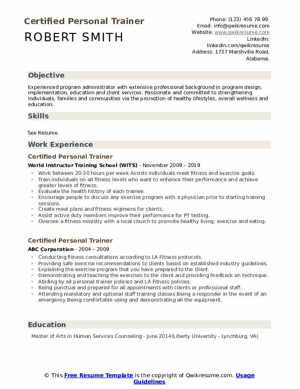 Certified Personal Trainer Resume Model