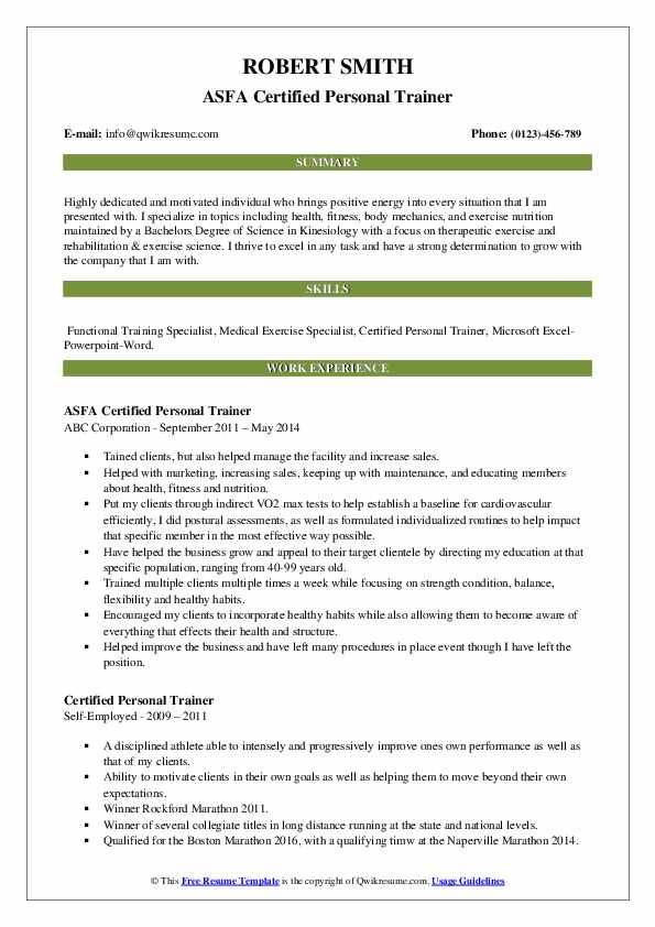ASFA Certified Personal Trainer Resume Template