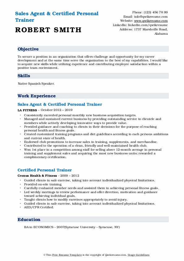Sales Agent & Certified Personal Trainer Resume Model