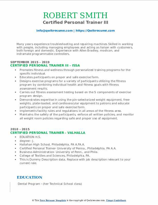 certified personal trainer resume samples  qwikresume