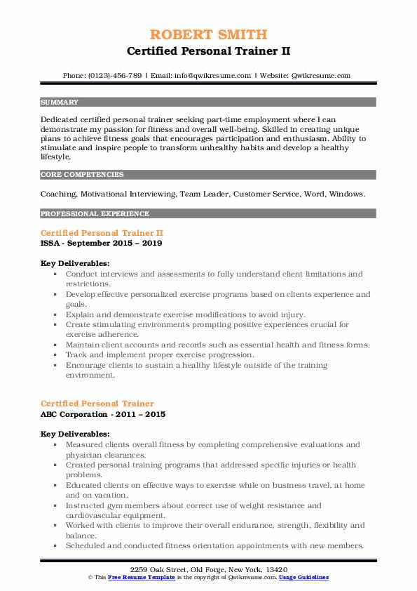 Certified Personal Trainer II Resume Template