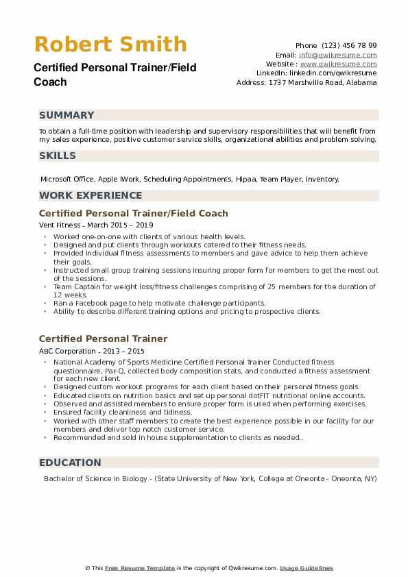 Certified Personal Trainer/Field Coach Resume Sample