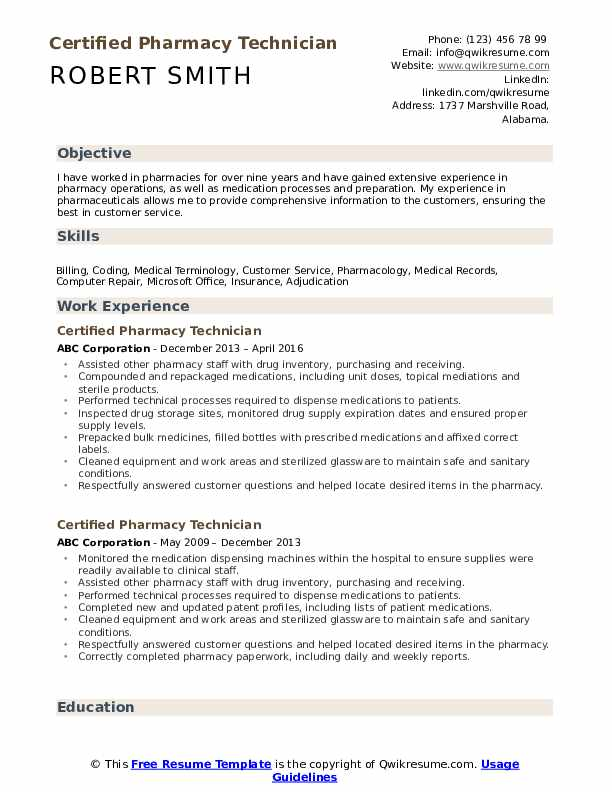 certified pharmacy technician resume samples