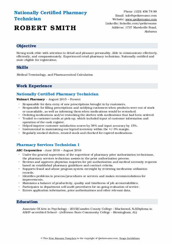 Nationally Certified Pharmacy Technician Resume Template
