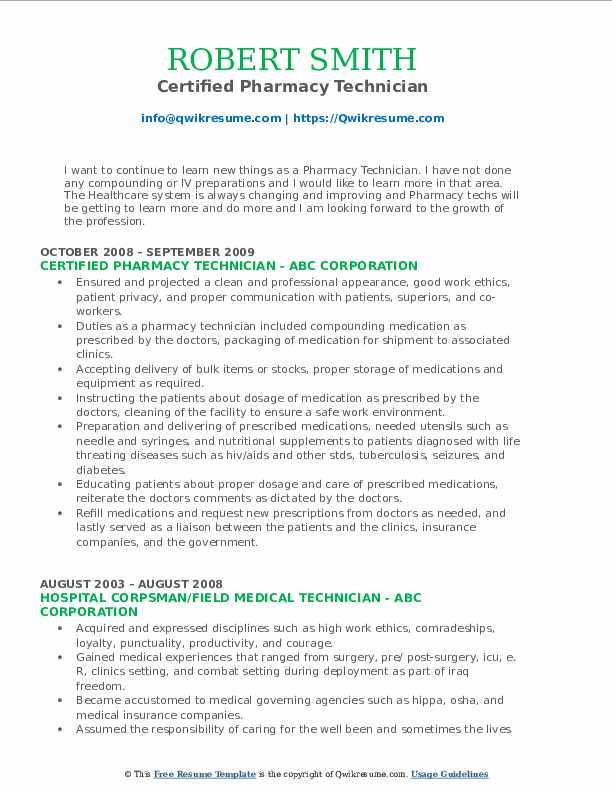 Certified Pharmacy Technician Resume Model