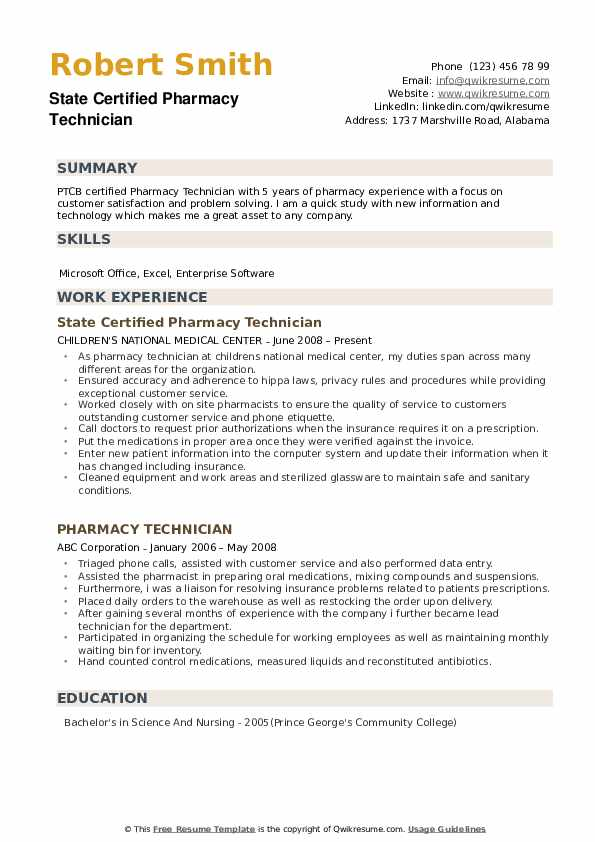 State Certified Pharmacy Technician Resume Example