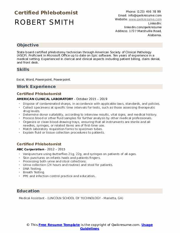 Certified Phlebotomist Resume Samples Qwikresume