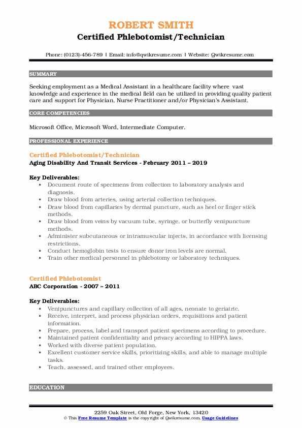 certified phlebotomist resume samples