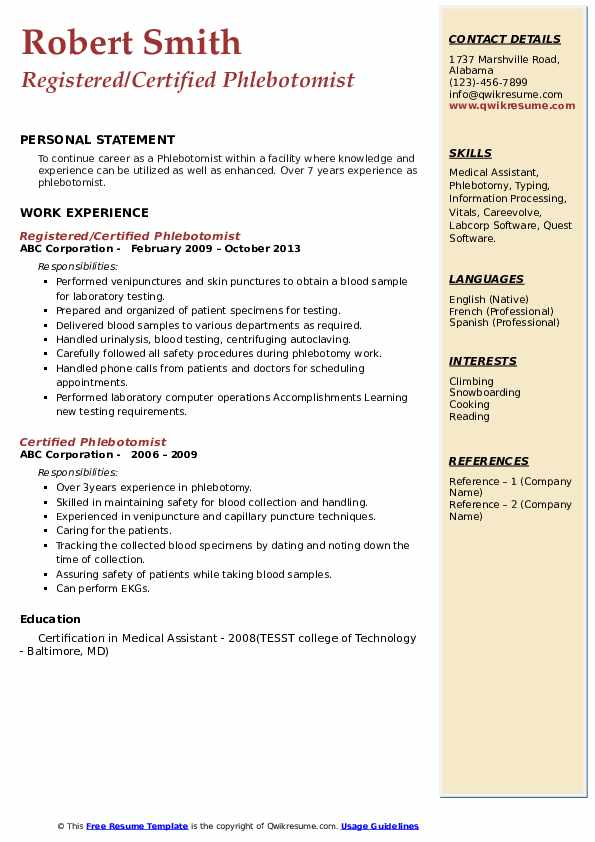 certified phlebotomist resume samples  qwikresume