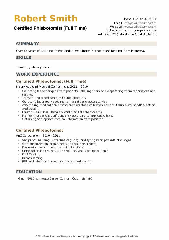 certified phlebotomist resume samples