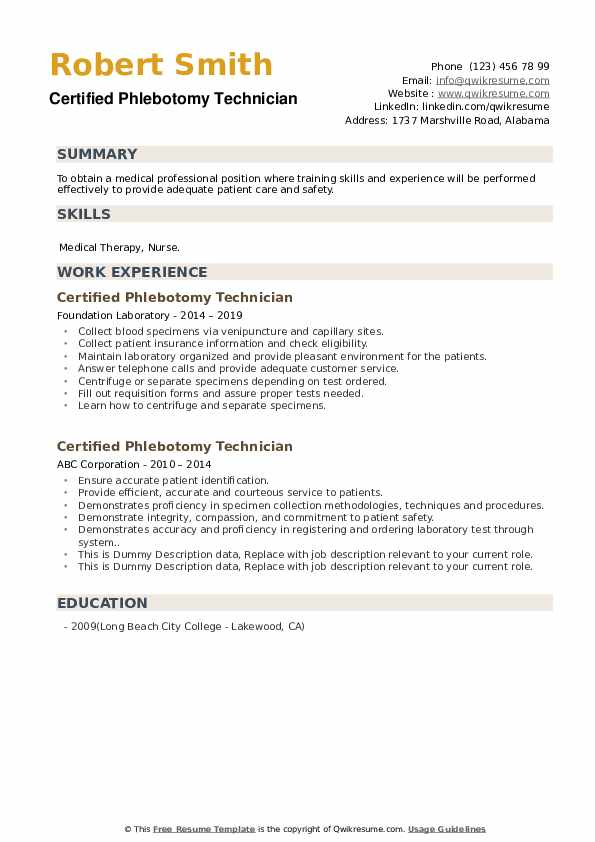 Certified Phlebotomy Technician Resume example
