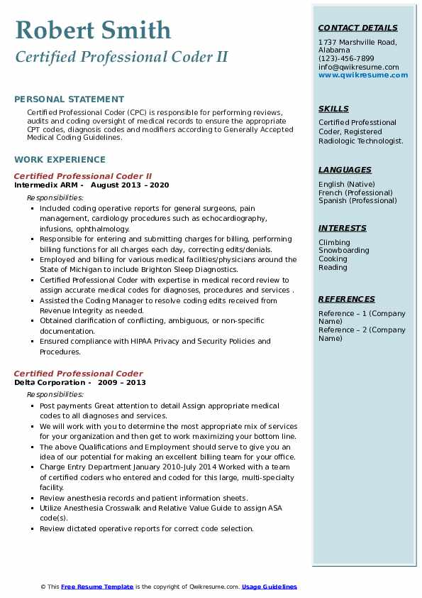 Certified Professional Coder Resume Samples Qwikresume