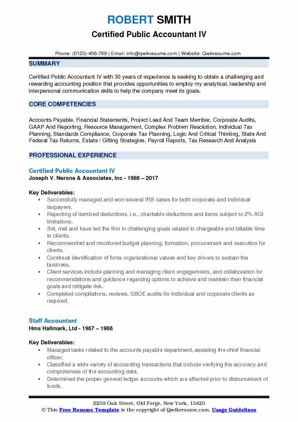 Certified Public Accountant IV Resume Format