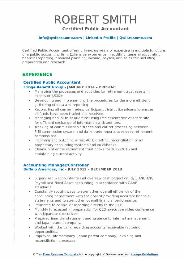 Certified Public Accountant Resume Sample