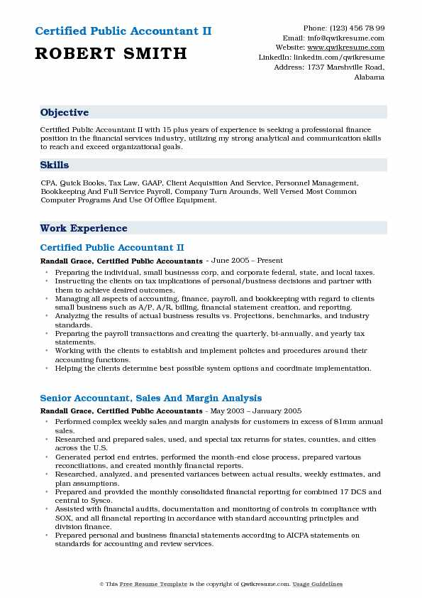 Certified Public Accountant II Resume Sample
