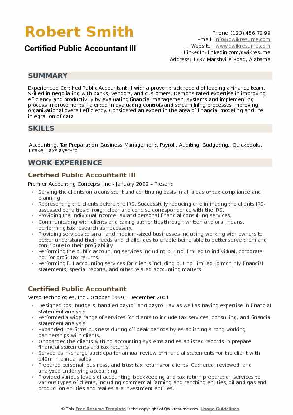 certified public accountant resume samples