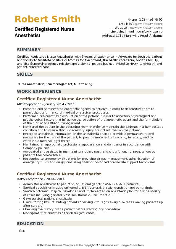 Certified Registered Nurse Anesthetist Resume example