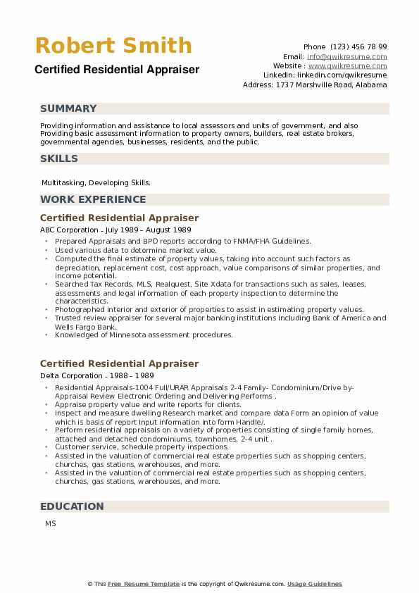 Certified Residential Appraiser Resume example