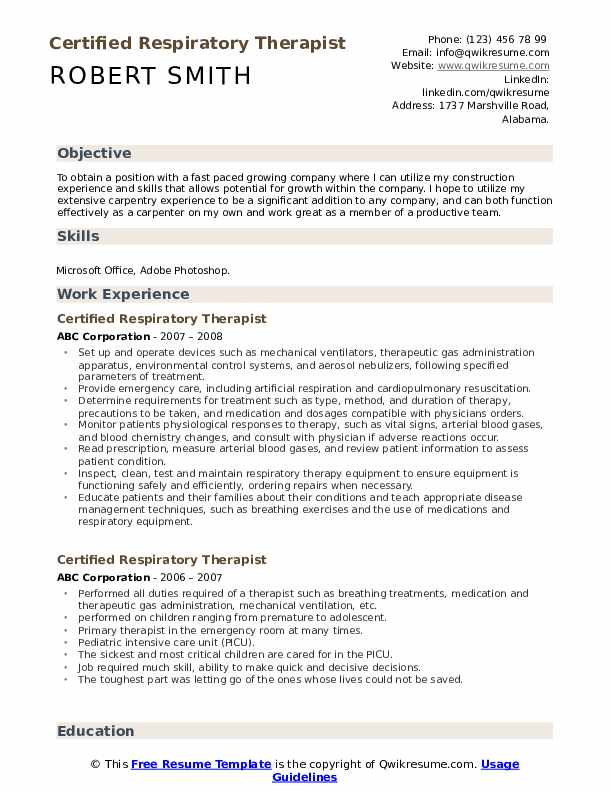 Certified Respiratory Therapist Resume Model