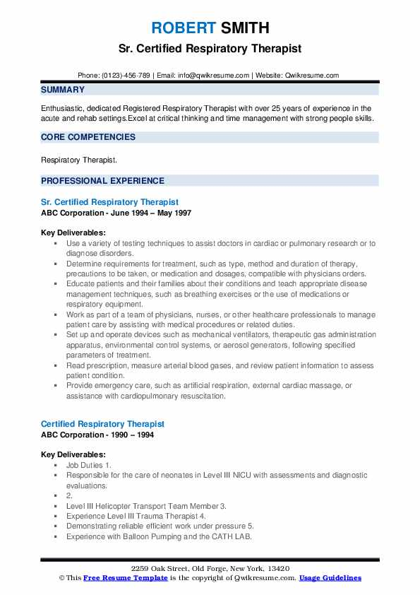 Sr. Certified Respiratory Therapist Resume Format