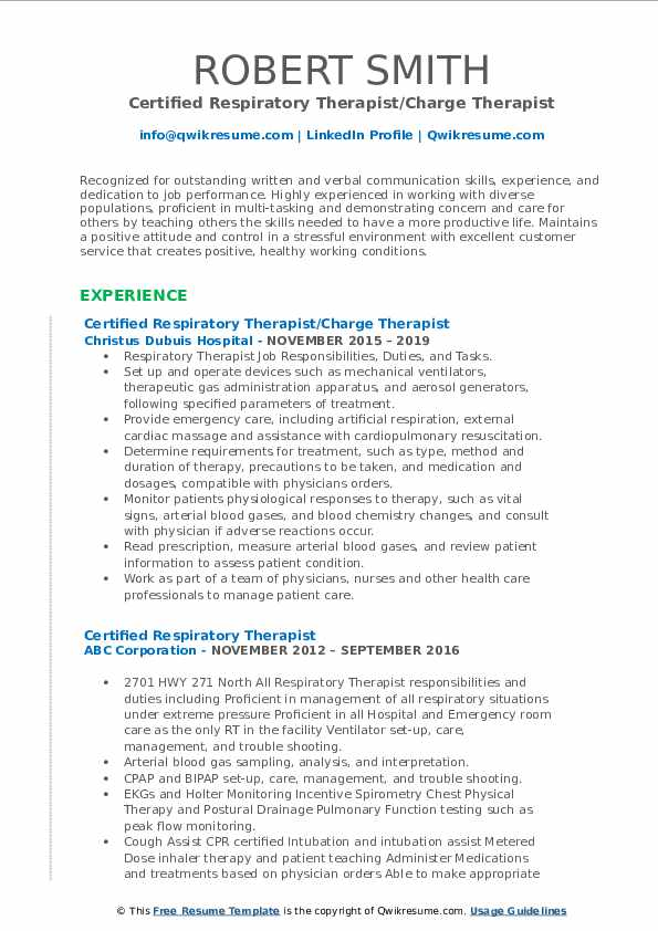 Certified Respiratory Therapist/Charge Therapist Resume Template