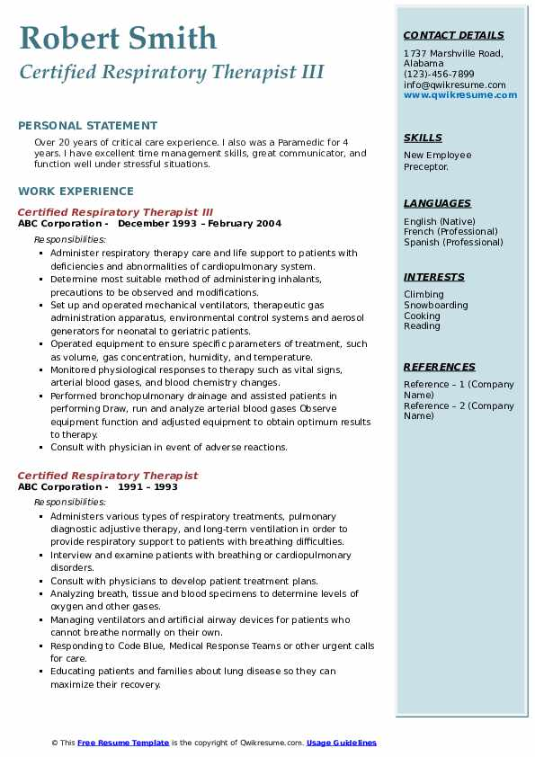 Certified Respiratory Therapist III Resume Model