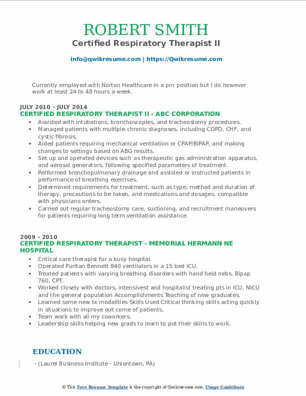 Certified Respiratory Therapist II Resume Format