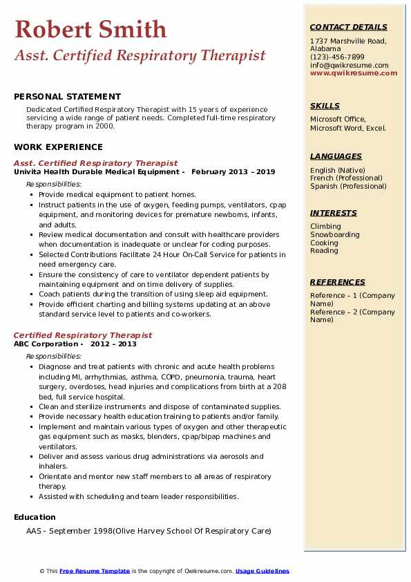 Asst. Certified Respiratory Therapist Resume Sample