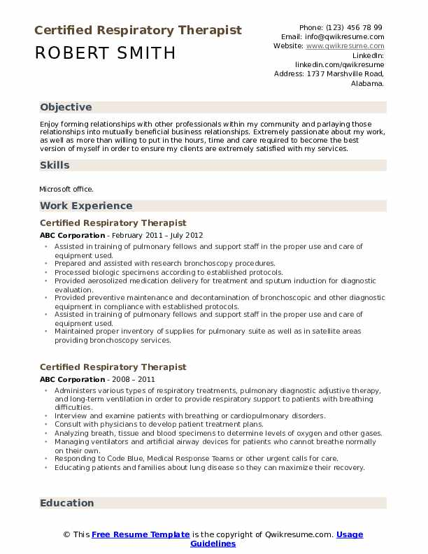 Certified Respiratory Therapist Resume example