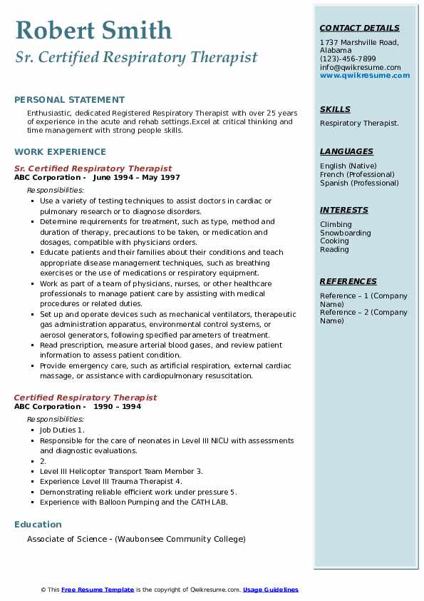 Certified/Registered Respiratory Therapist Resume Sample