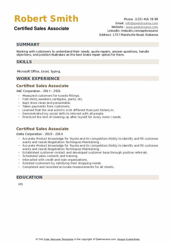 Certified Sales Associate Resume example
