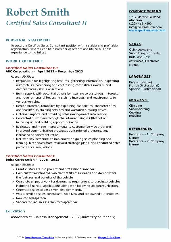 certified sales consultant resume samples  qwikresume