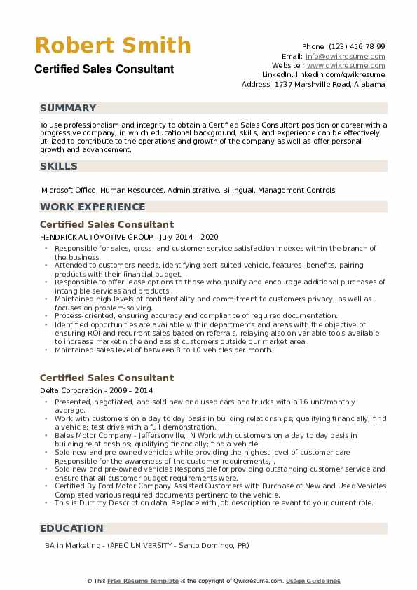 Certified Sales Consultant Resume example