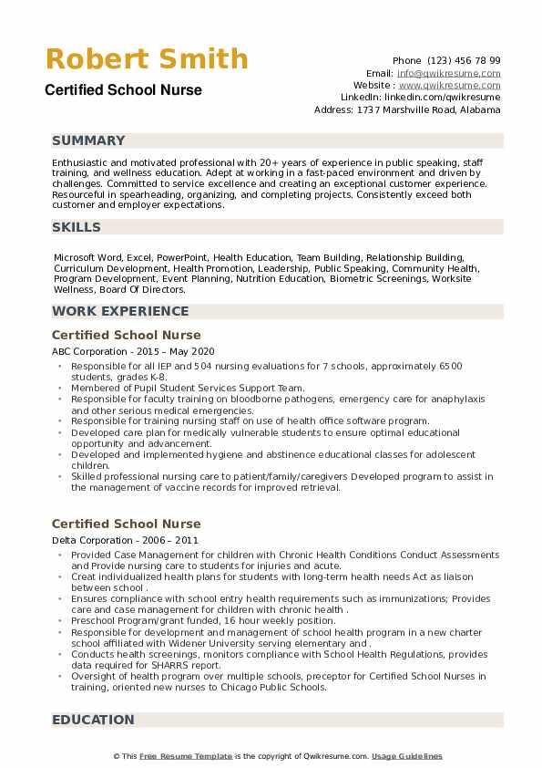 Certified School Nurse Resume example