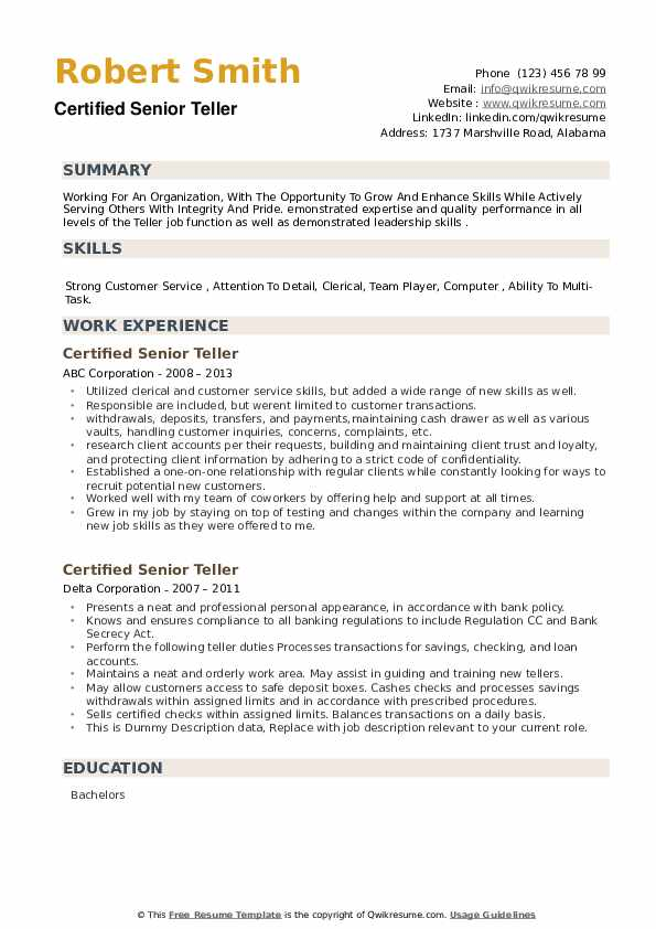 Certified Senior Teller Resume example