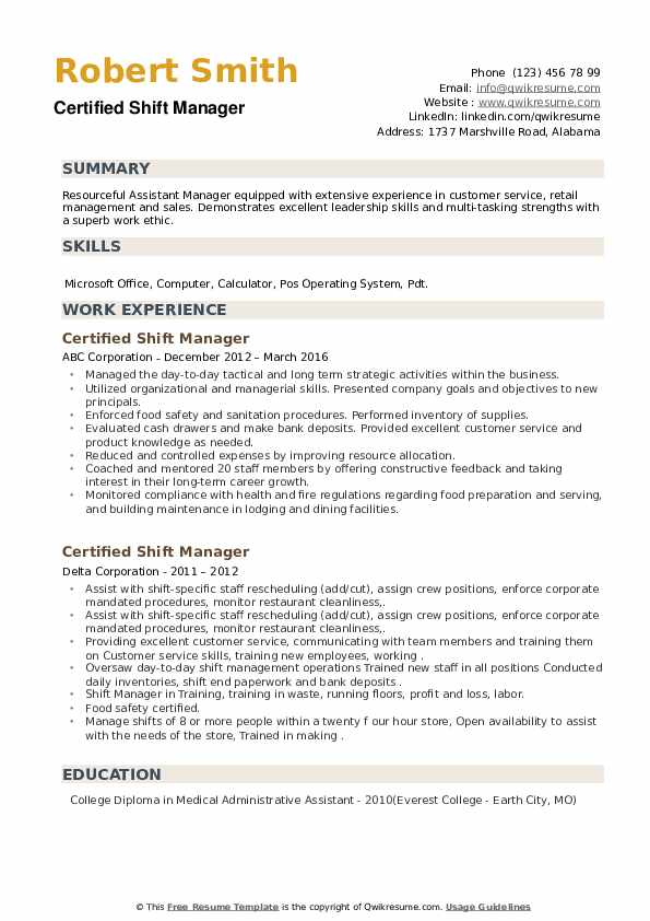 Certified Shift Manager Resume example