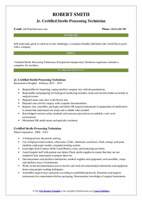 certified sterile processing technician resume samples