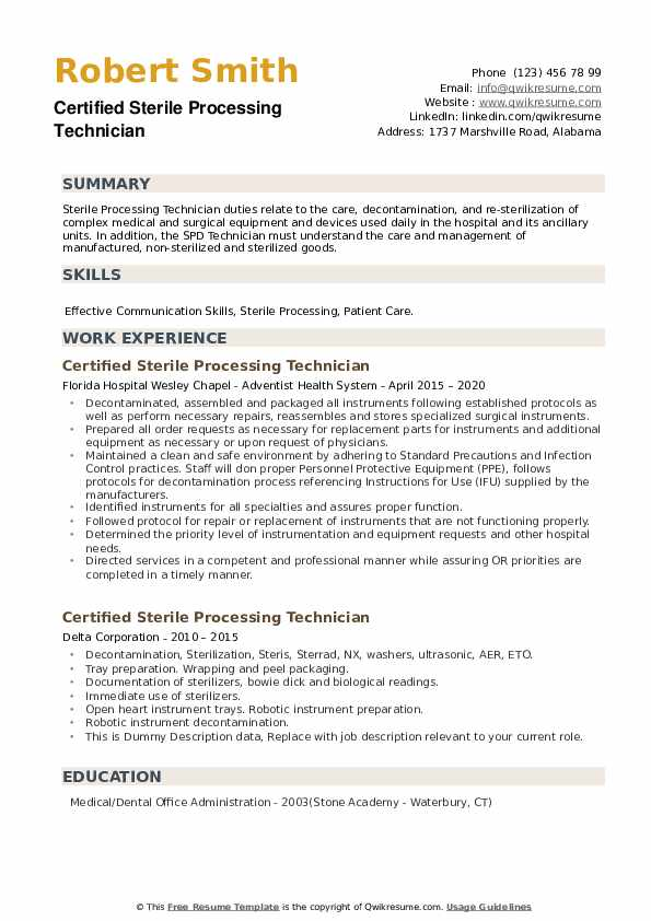 Certified Sterile Processing Technician Resume example