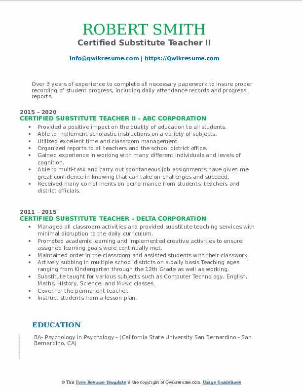 certified substitute teacher resume samples
