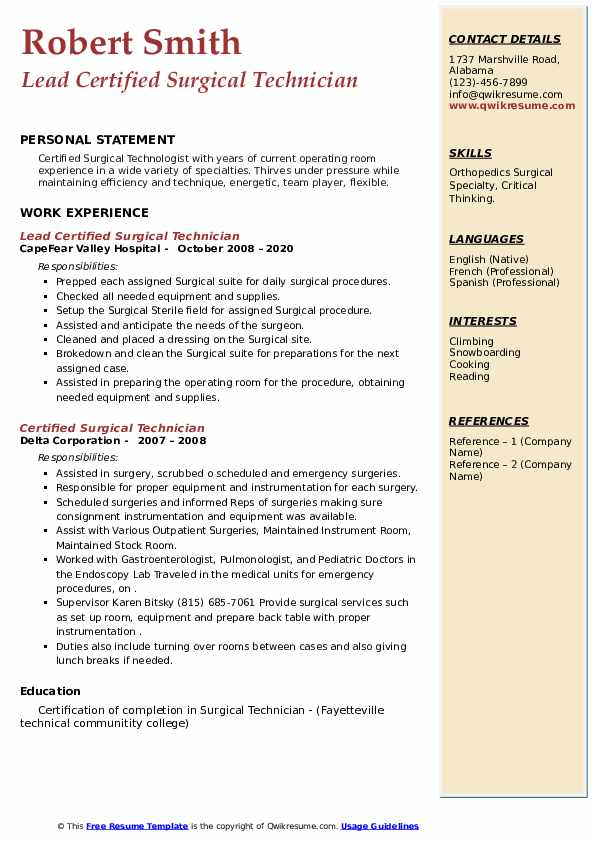 certified surgical technician resume samples  qwikresume