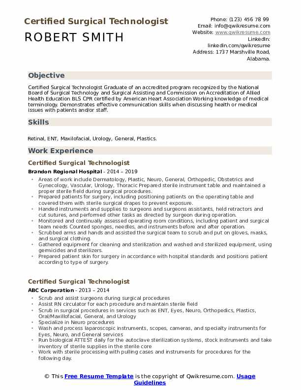 certified surgical technologist resume samples