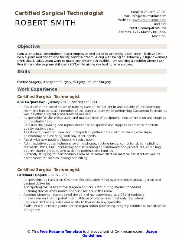 Certified Surgical Technologist Resume Template