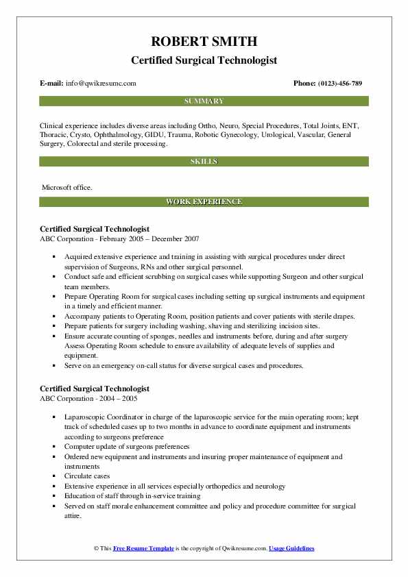 Certified Surgical Technologist Resume Format