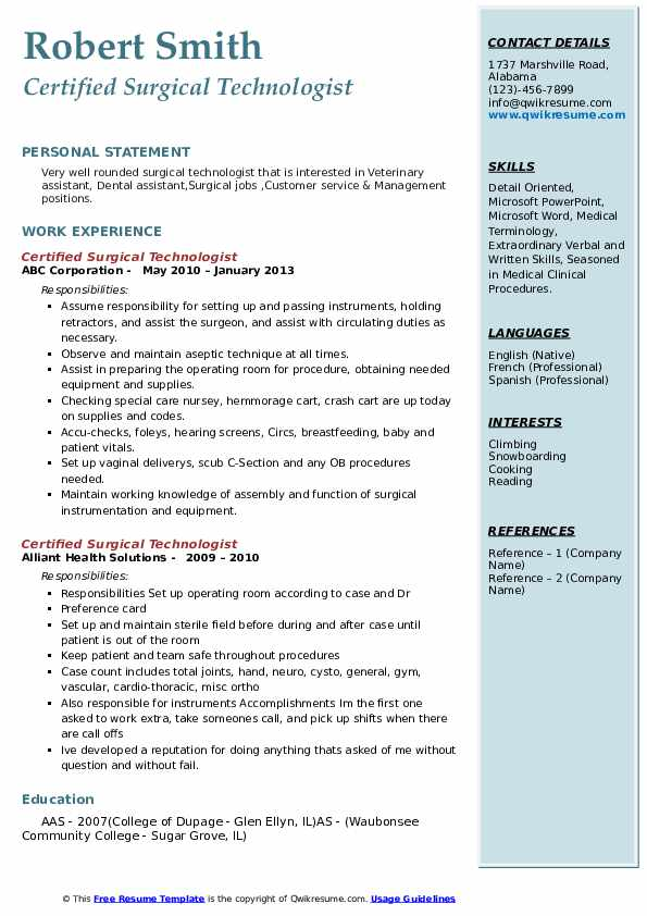 Certified Surgical Technologist Resume example